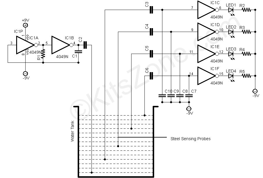 water level detection  sensing using 4049 ic