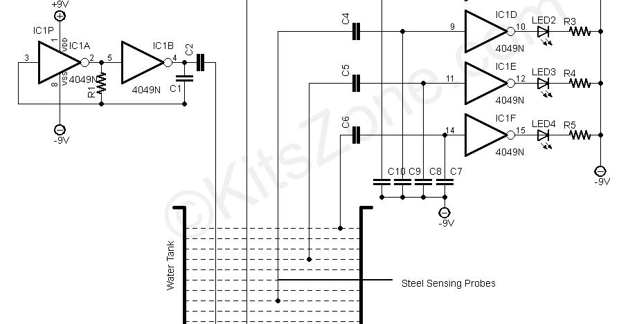 water level detection  sensing using 4049 ic