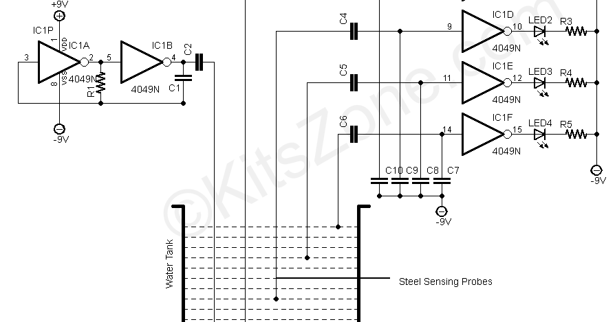 water level indicator circuit 3 level