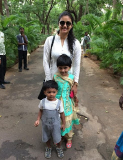 Keerthy Suresh in White Dress with Cute Children