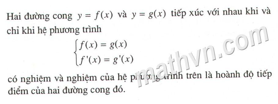 điều kiện để hai đồ thị hàm số tiếp xúc