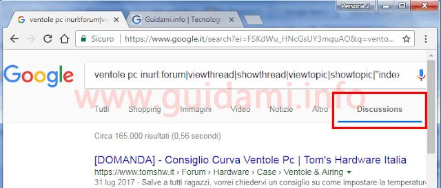 Estensione filtro ricerca Discussioni su Google