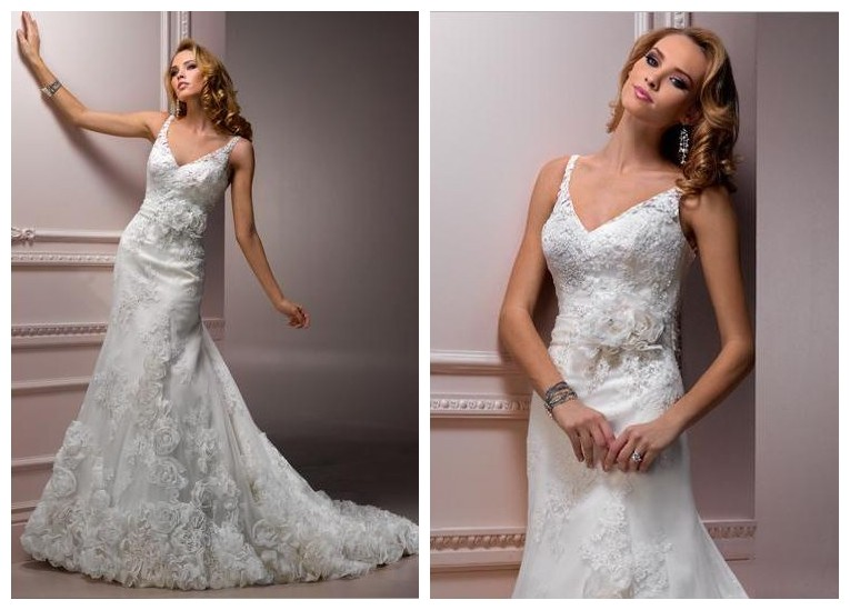 Beige Elegant V Neck Bridesmaid Dress: WhiteAzalea Elegant Dresses: Elegant V-neck Wedding Dresses