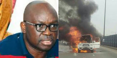 Photo of Ayo Fayose and his burnt car