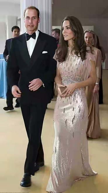 The Duchess of Cambridge Kate Re-Rocks Shimmering Pale Pink Gown