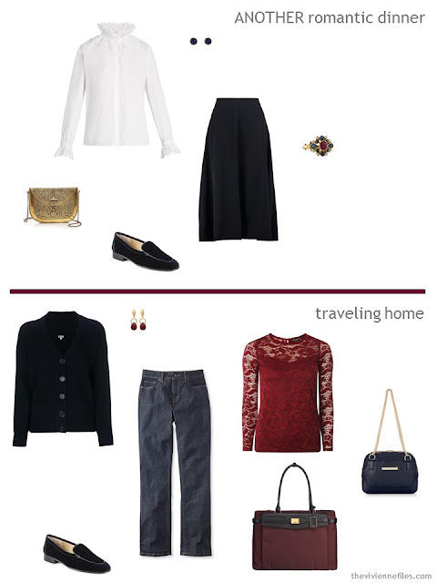 2 outfits from a travel capsule wardrobe in navy, burgundy and white