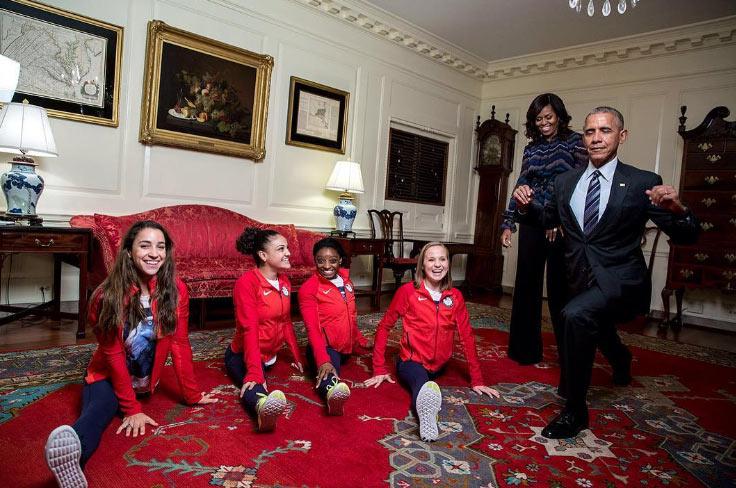 Obama goofs around as US Olympic gymnasts visit White House
