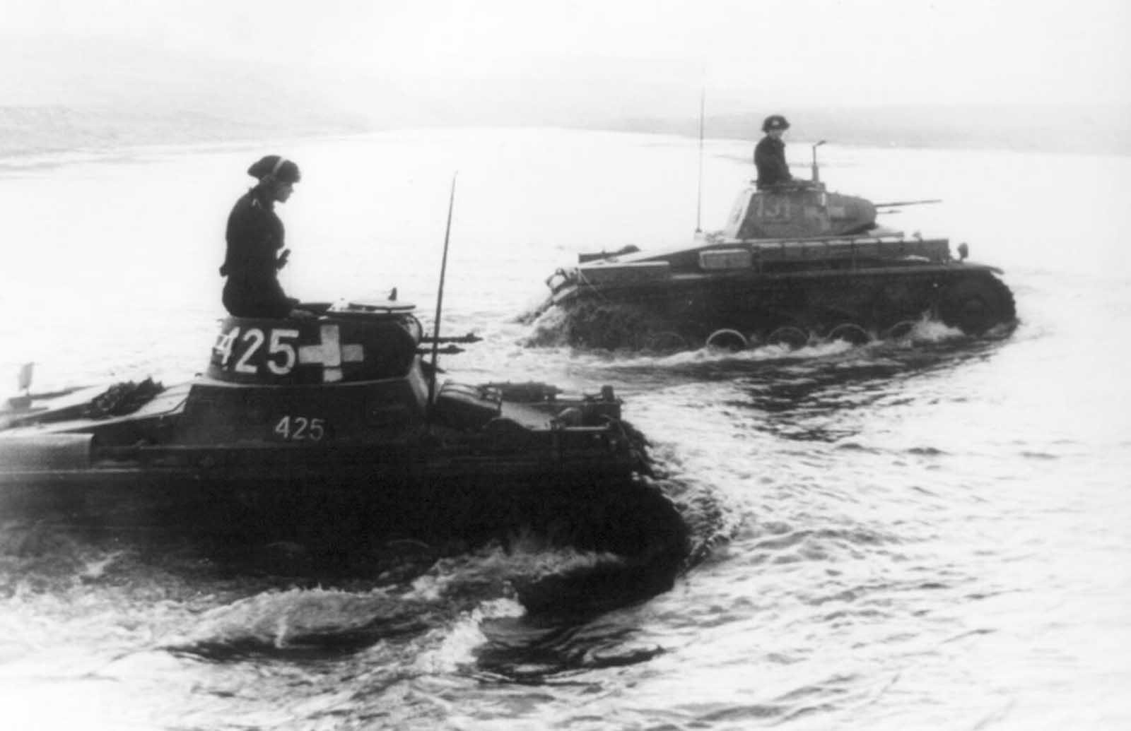 Two tanks of the SS-Leibstandarte Adolf Hitler Division cross the Bzura River during the German invasion of Poland in September of 1939. The Battle of Bzura, the largest of the entire campaign, lasted more than a week, ending with the German forces capturing most of western Poland.