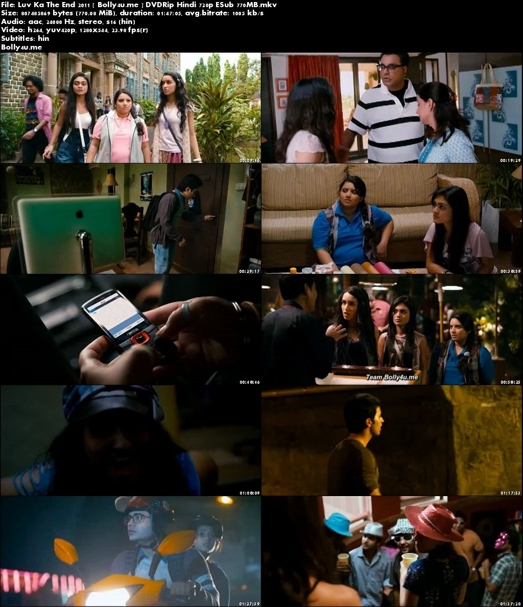 Luv Ka The End 2011 DVDRip 750MB Hindi Movie 720p ESub Download