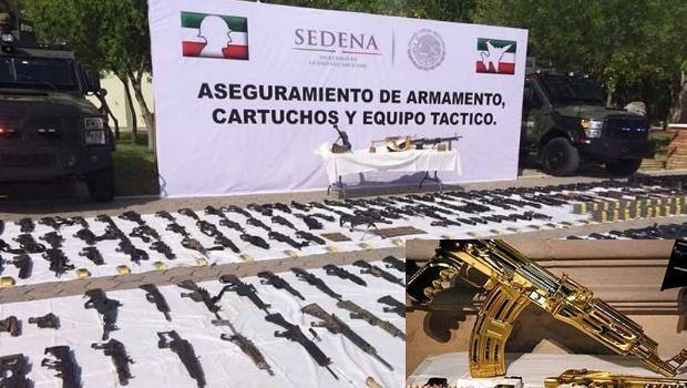 Militares decomisa megaarsenal con un AK 47 bañado en oro