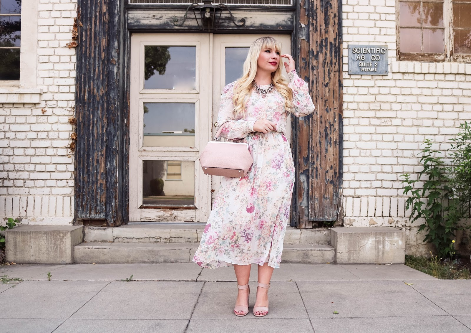 Blush floral Dress & JEMMA JoJo Handbag Review