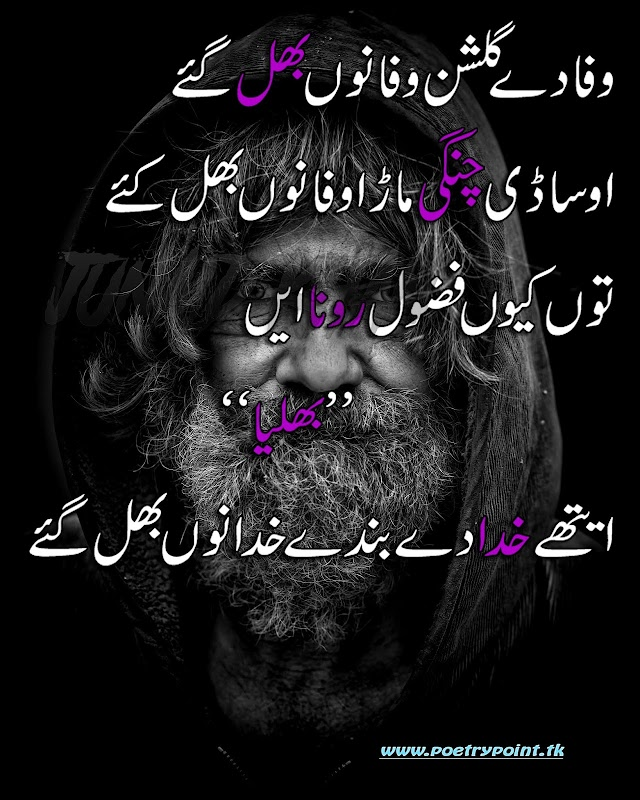 """Baba bulleh shah poetry""""waja de gulshen wafa nu bhul gae""""//sad poetry about love in urdu//sad poetry sms"""