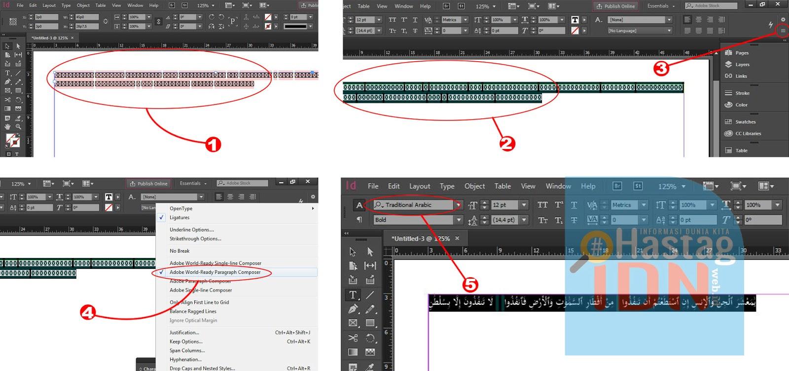 Cara Membuat tulisan Arab di Adobe Indesain