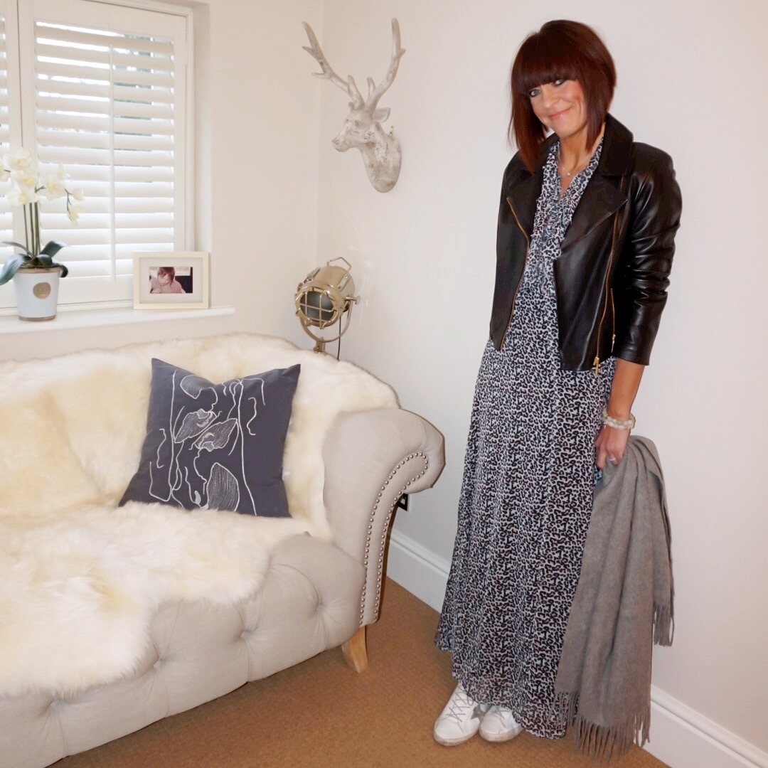 my midlife fashion, baukjen everyday leather biker jacket, lily and lionel leopard print ruffle maxi dress, golden goose superstar low top leather trainers, and other stories oversized wool scarf