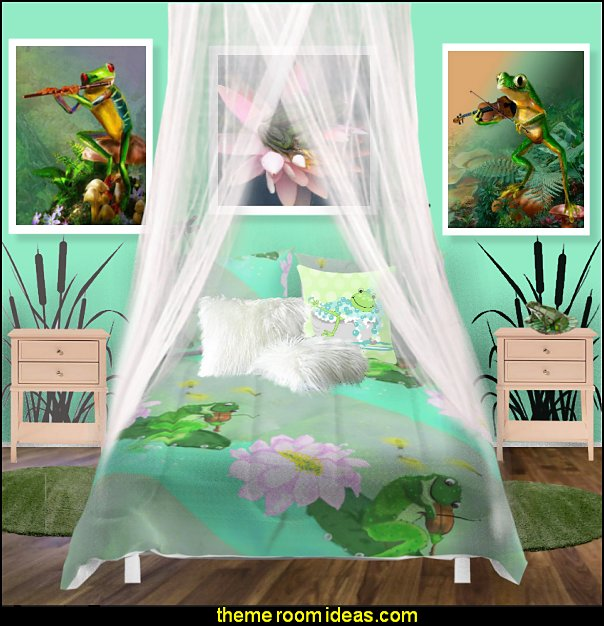 frog theme bedrooms - frog bedroom decor - frog theme decor - frog bedding - frog themed gifts - froggy wallpaper frog murals - frog wall decals - frogs in a pond wall decor -  Frog Prince decor - pond theme decals - frog duvet set - decorating frog theme - frog theme for baby nursery - frog pond baby nursery