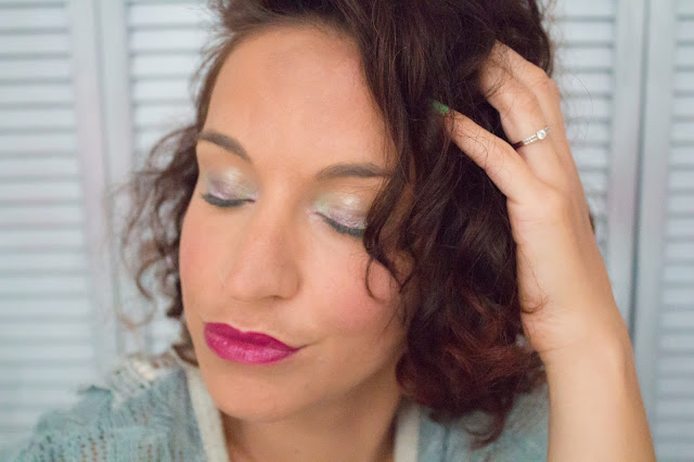 monday shadow challenge vert d'eau fleurs maquillage