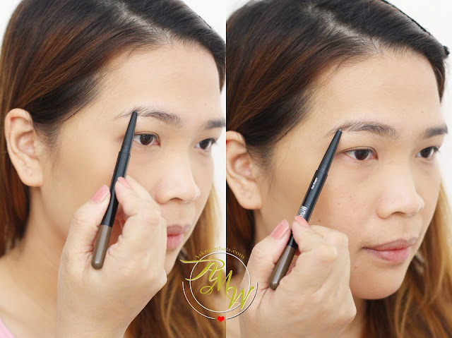 a photo on how to use Maybelline Fashion Brow Duo Shaper