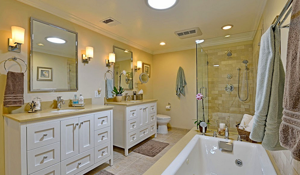 Bathroom with a vintage-style shape line.