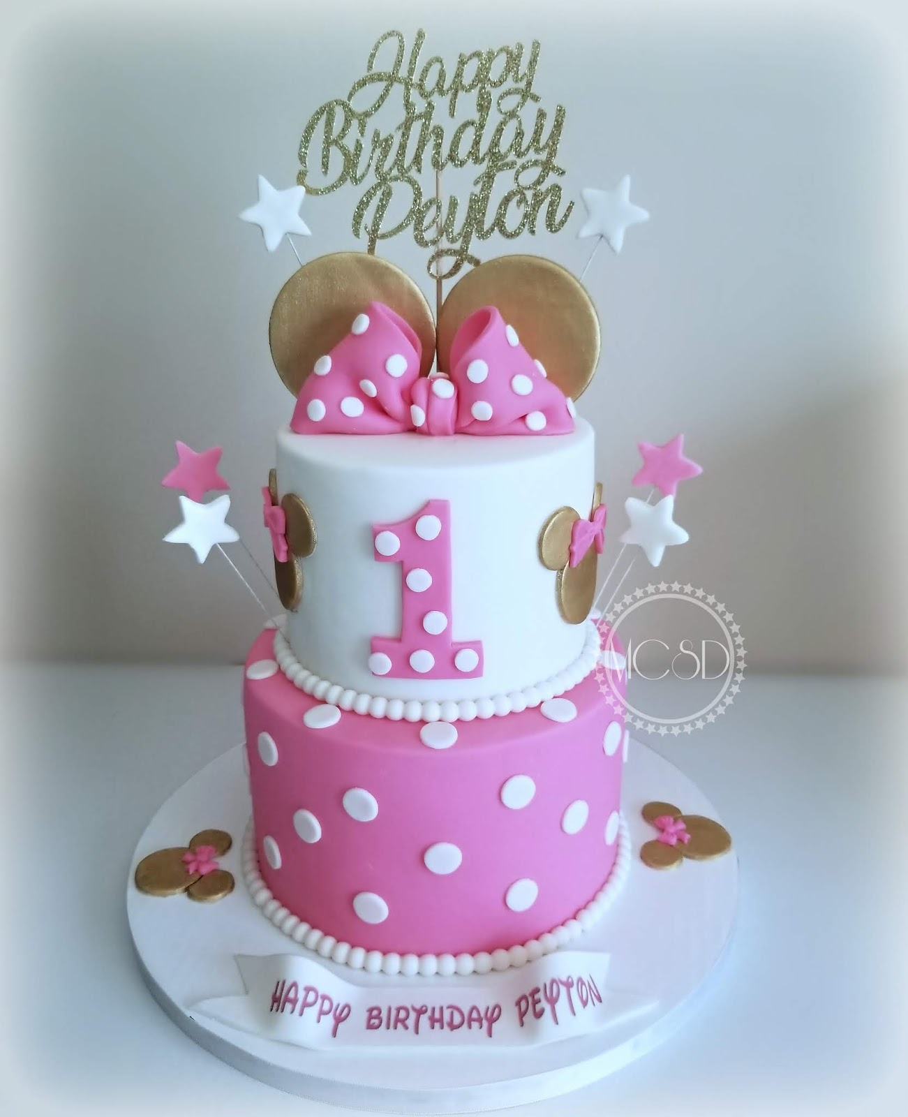 Pleasant Cakesbyzana Minnie Mouse 1St Birthday Cake Personalised Birthday Cards Veneteletsinfo