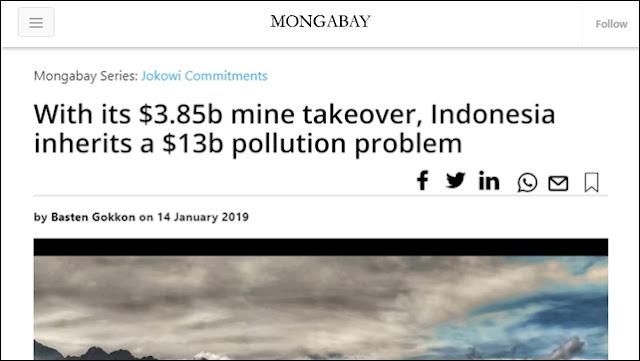 Terburu Akuisisi Freeport, RI Mewarisi Biaya Kerusakan Lingkungan 4x Lipat dibanding Nilai Kontrak