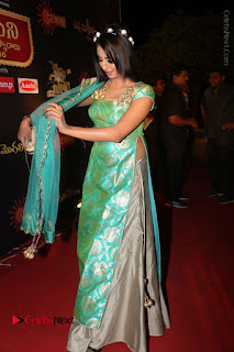 Actress Sanjjanaa Stills in Green Long Dress at Gemini TV Puraskaralu 2016 Event  0056.JPG