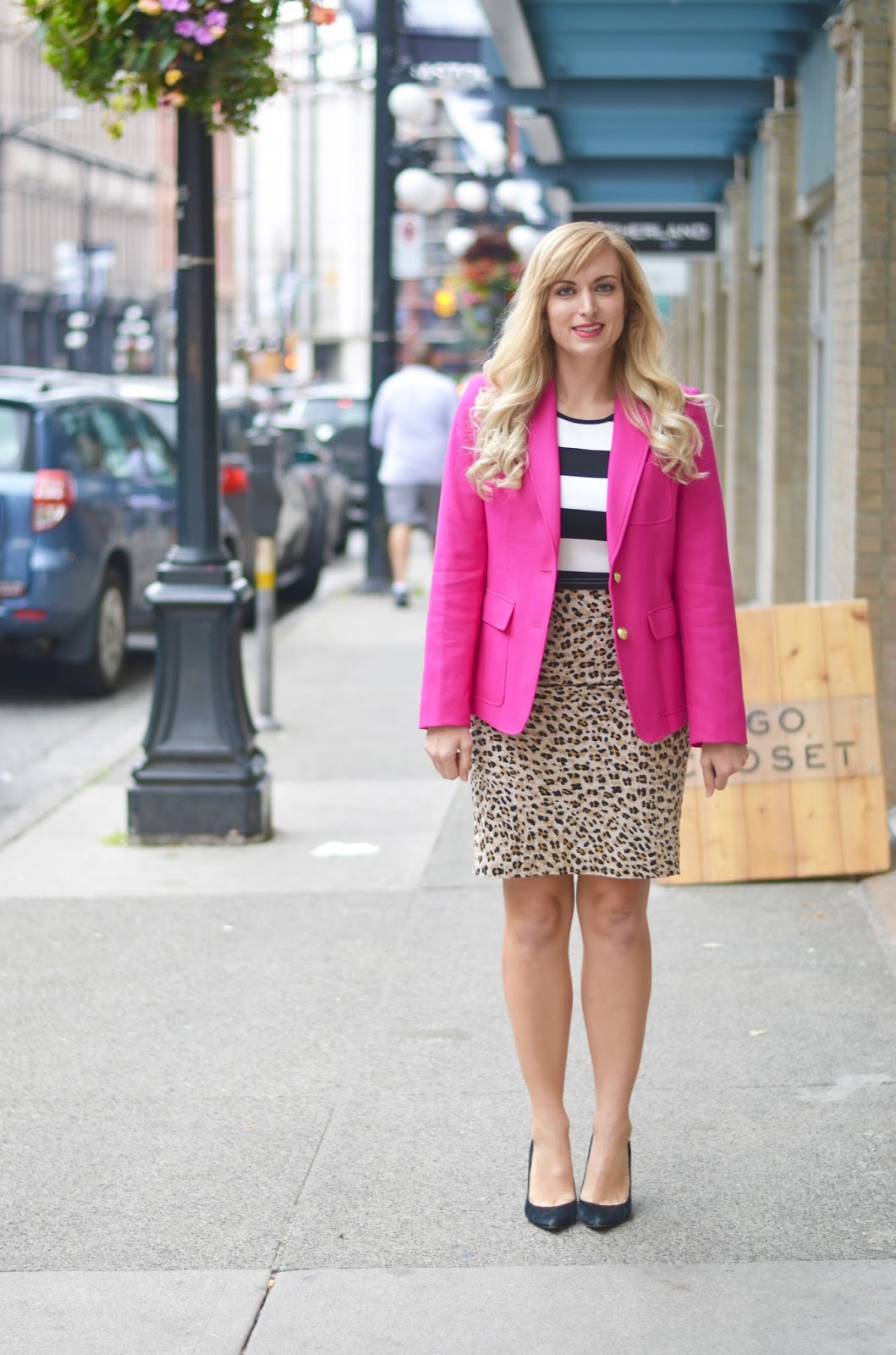 pink blazer work outfit