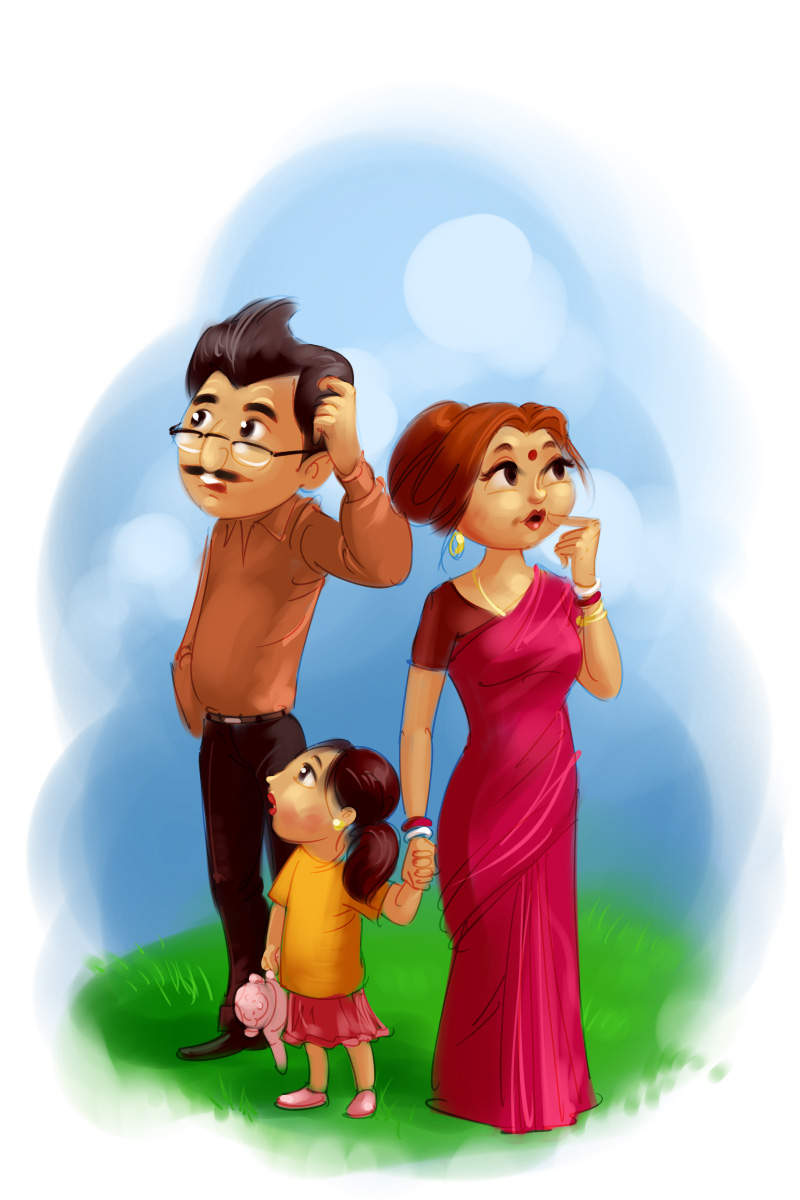 insurance company advertisement worried parents with baby girl cartoon illustration