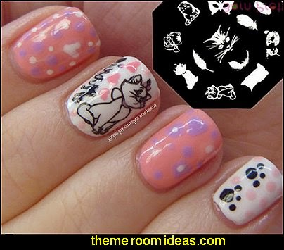 Cute Cat Feather Pattern Nail Art Stamp Template Plate