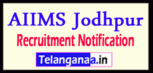 AIIMS Jodhpur Recruitment Notification