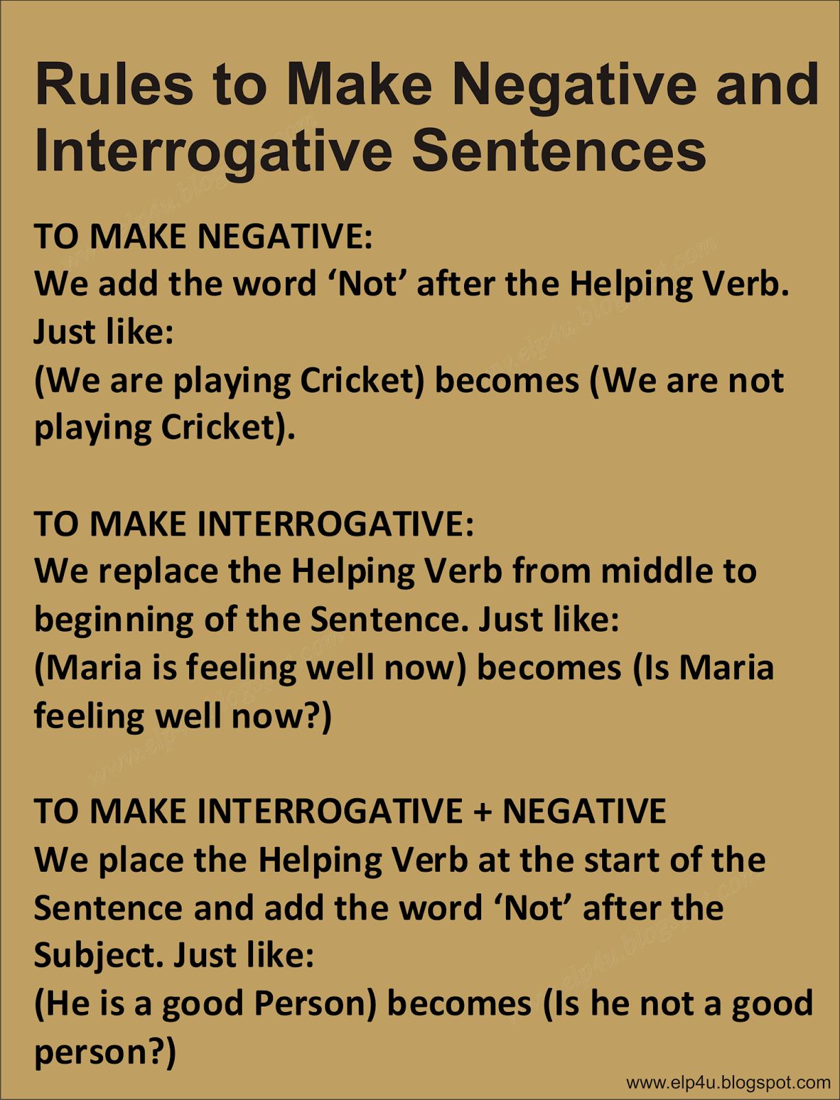 Rules To Make Negative And Interrogative Sentences