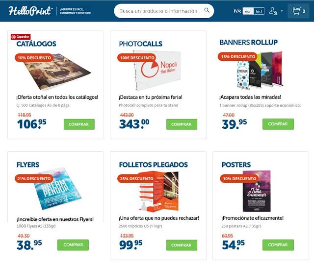 Ofertas y descuentos en Helloprint