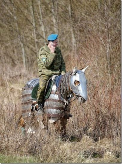 Funny Soldier Armoured Horse Joke Picture
