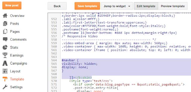 How To Remove Blogger Navbar - Method 2