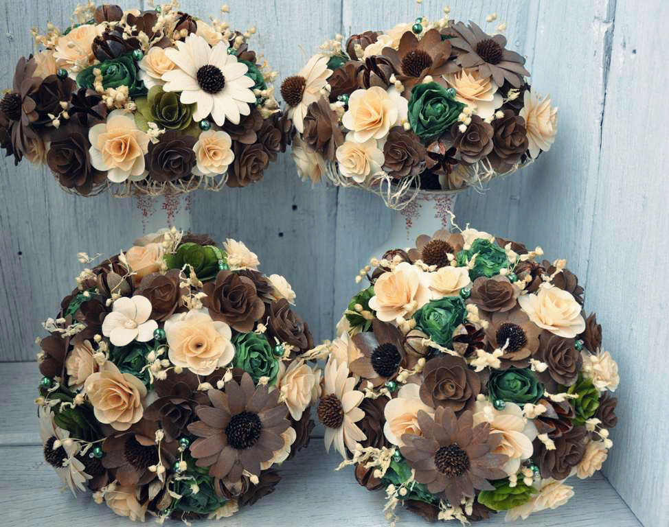 Brown And Olive Wedding Bouquets