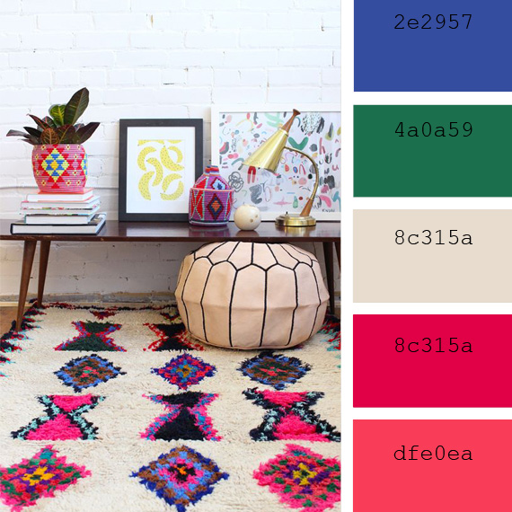 moroccan style rug color palette