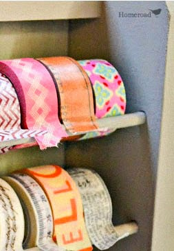 A Washi Tape Dispenser created from a spice rack