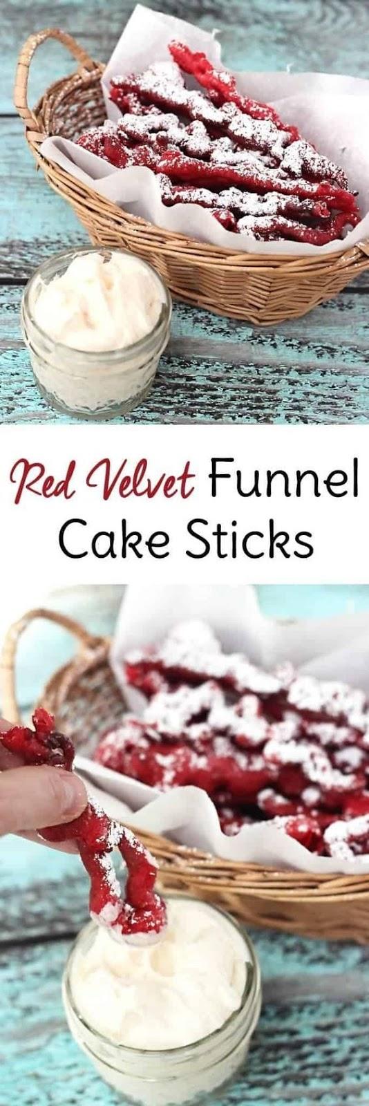Red Velvet Funnel Cake Sticks