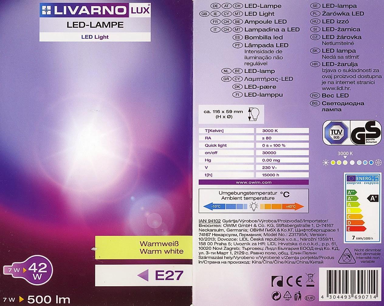 Livarno lux led lamp 7w E27 lidl, Model Z31795A, confezione