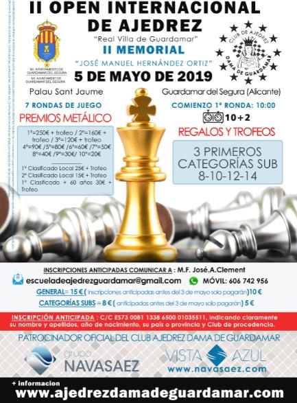 5 mayo, Torneo Internacional de ajedrez Guardamar del Segura, II memorial  José Manuel Hernández Ortíz