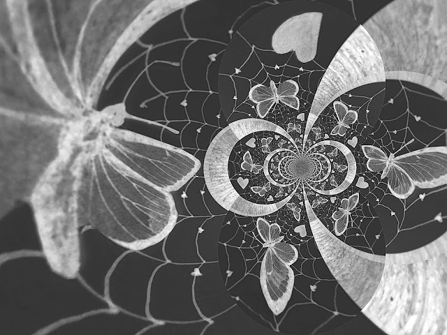 taidekuva by Irja, perhoset ja sydämet, originaali by Katja