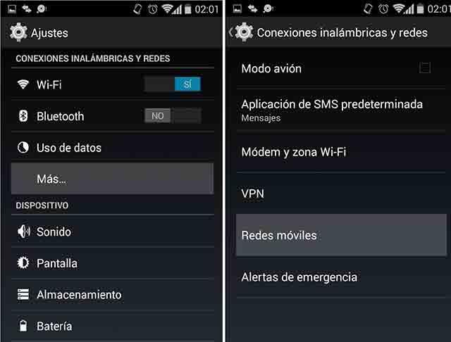 configurar redes móviles en un android 4.4 KitKat