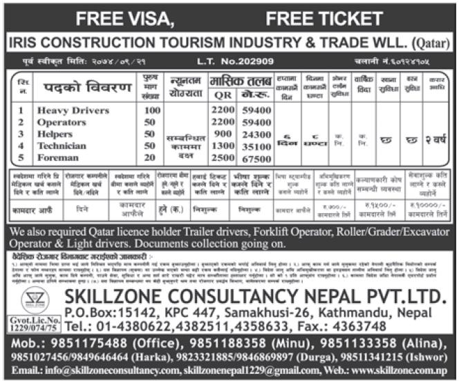 Free Visa Free Ticket Jobs in Qatar for Nepali, Salary Rs 67,500