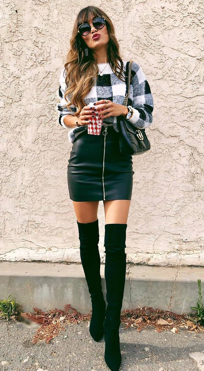fashion trends   plaid shirt + over knee boots + skirt + bag