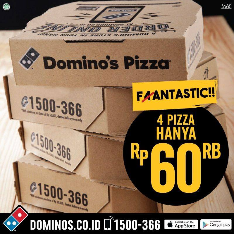 Promo Dominos Pizza Fantastic 4 Dozen Pizza Small Hanya 60 Ribu