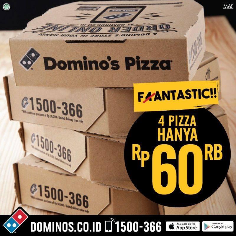 Promo Dominos Pizza Fantastic 4 Dozen Pizza Small Hanya 60 Ribu