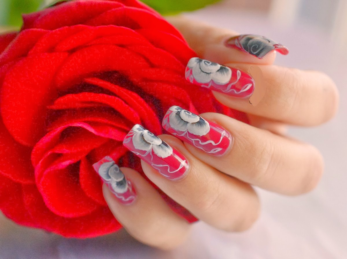 Red And Bule Rose Nail Arthttp://nails-side.blogspot.com/