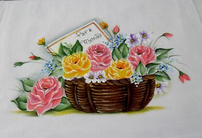"""""""pintura em tecido cesta com rosas, dia das maes"""""""