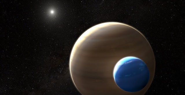 This artist's impression depicts the exomoon candidate Kepler-1625b-i, the planet it is orbiting and the star in the centre of the star system. Kepler-1625b-i is the first exomoon candidate and, if confirmed, the first moon to be found outside the Solar System.  Like many exoplanets, Kepler-1625b-i was discovered using the transit method. Exomoons are difficult to find because they are smaller than their companion planets, so their transit signal is weak, and their position in the system changes with each transit because of their orbit. This requires extensive modelling and data analysis.  Credit: NASA, ESA, and L. Hustak (STScI)