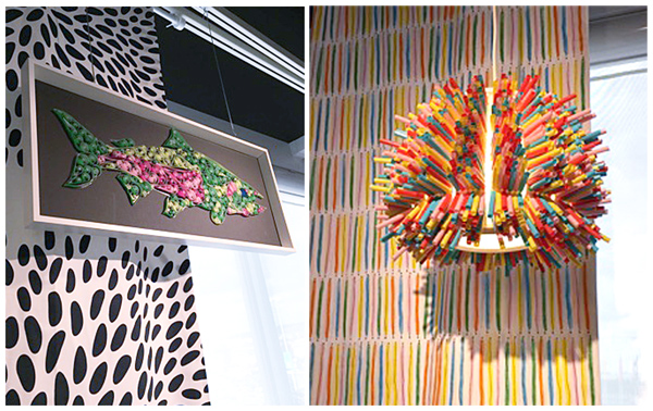 paper mache fish art, twisted paper art, straw light, IKEA design & dine event