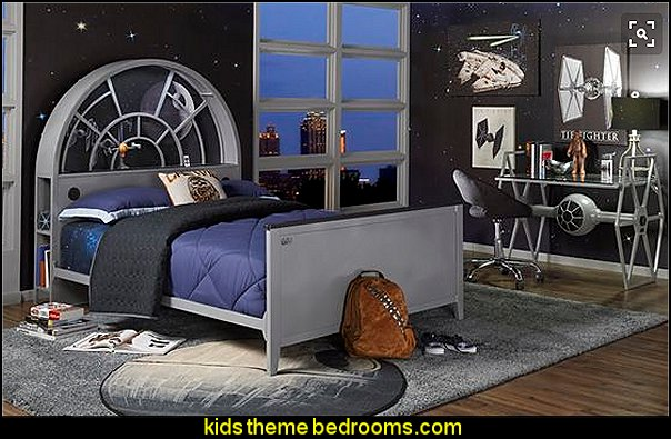 Star Wars Millennium Falcon™ Gray 3 Pc Twin Bookcase Bed star wars bedroom furniture